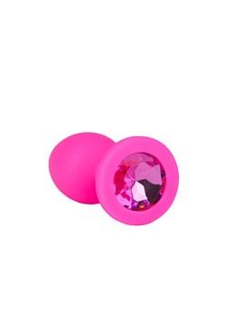 Розовая анальная втулка с малиновым кристаллом - 7,3 см.