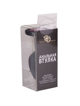 Чёрная анальная втулка с малиновым кристаллом - 7,3 см.