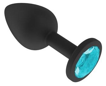 Чёрная анальная втулка с голубым кристаллом - 7,3 см.