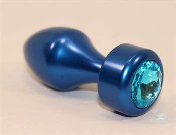 Синяя анальная пробка с голубым кристаллом - 7,8 см.