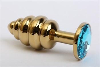 Золотистая рифлёная пробка с голубым стразом - 8,2 см.