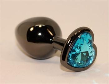Чёрная анальная пробка с голубым стразом-сердцем - 8 см.