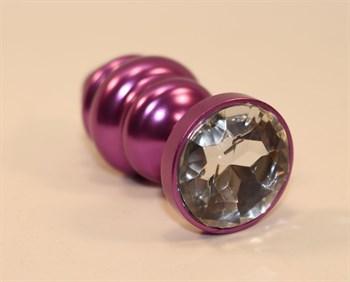 Фиолетовая рифленая пробка с прозрачным кристаллом - 7,3 см.