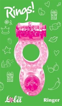 Розовое эрекционное кольцо с вибрацией Rings Ringer
