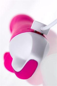 Розовый вибратор с клиторальным стимулятором ELLY с подогревом - 21,5 см.