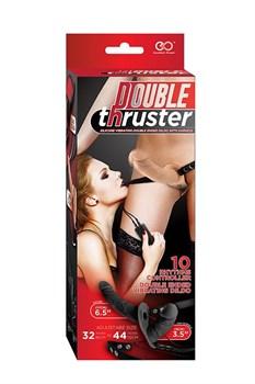 Телесный страпон с вибрацией и вагинальной пробкой DOUBLE THRUSTER VIBE WITH HARNESS - 17 см.