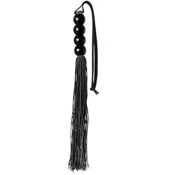 Чёрная мини-плеть из силикона с акриловой рукоятью SILICONE FLOGGER WHIP - 35 см.