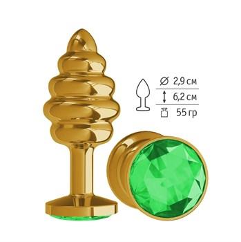 Золотистая пробка с рёбрышками и зеленым кристаллом - 7 см.