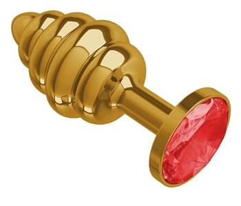 Золотистая пробка с рёбрышками и красным кристаллом - 7 см.