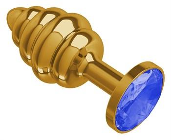 Золотистая пробка с рёбрышками и синим кристаллом - 7 см.