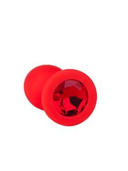 Красная анальная втулка с красным кристаллом - 7,3 см.