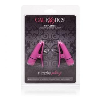 Розовые зажимы на соски с вибрацией Nipple Play Nipplettes