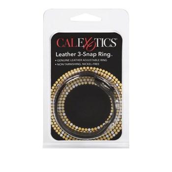 Черная кожаная утяжка для пениса Leather 3-Snap Ring