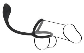 Эрекционное кольцо с утяжкой на мошонку и анальным плаг Black Velvets