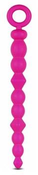 Розовая анальная цепочка-елочка SILICONE BEADS - 24,6 см.