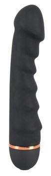 Чёрный вибратор с ребрами Bendy Ripple - 16,5 см.