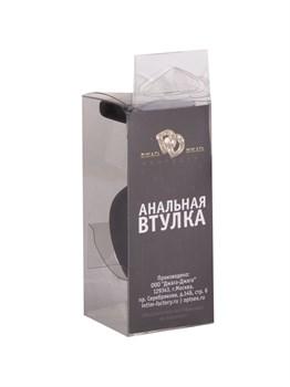 Чёрная анальная втулка с прозрачным кристаллом - 7,3 см.