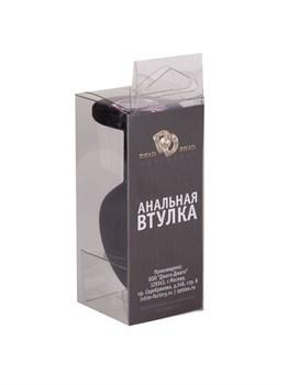 Чёрная анальная втулка с розовым кристаллом - 7,3 см.