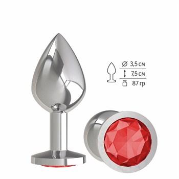 Серебристая средняя пробка с красным кристаллом - 8,5 см.