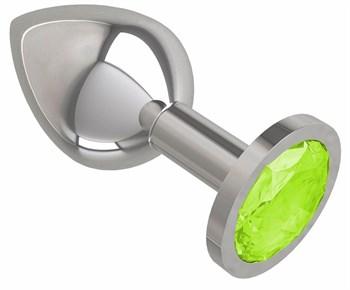 Серебристая средняя пробка с лаймовым кристаллом - 8,5 см.
