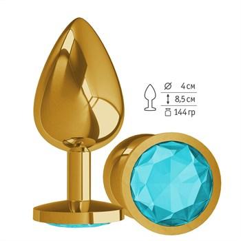 Золотистая большая анальная пробка с голубым кристаллом - 9,5 см.