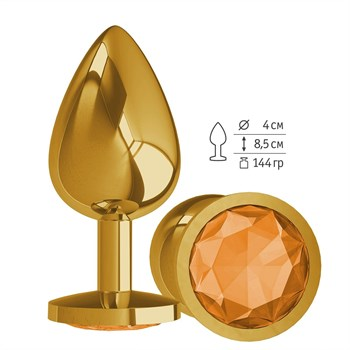 Золотистая большая анальная пробка с оранжевым кристаллом - 9,5 см.