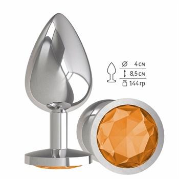 Серебристая большая анальная пробка с оранжевым кристаллом - 9,5 см.
