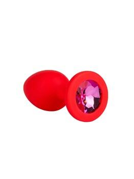 Красная анальная втулка с малиновым кристаллом - 7,3 см.