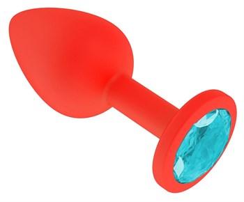 Красная анальная втулка с голубым кристаллом - 7,3 см.