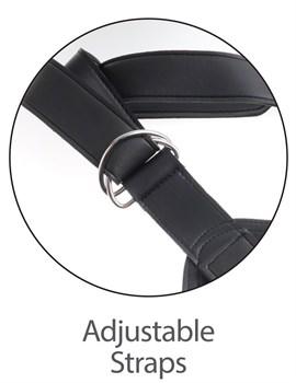 Кофейный сдвоенный поясной страпон Strap-On Harness with 7  Two Cocks One Hole - 19,1 см.