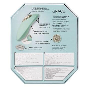 Нежно-голубой вибромассажёр Pave Grace с кристаллами