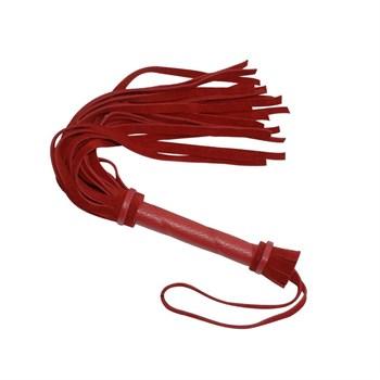 Красная мини-плеть из натуральной велюровой кожи - 40 см.