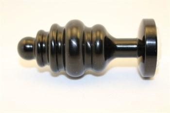 Черная фигурная анальная пробка с розовым кристаллом - 8,2 см.