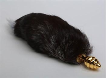 Золотистая анальная пробка с хвостом  Королевская лиса