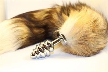 Серебристая анальная пробка с хвостом  Королевская лиса