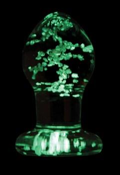 Прозрачная, светящаяся в темноте анальная пробка  Glass Plug Small - 6,3 см.