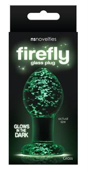 Прозрачная, светящаяся в темноте  анальная пробка Glass Plug Medium - 8 см.