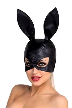 Чёрная маска кролика из экокожи
