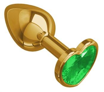 Золотистая анальная втулка с зеленым кристаллом-сердцем - 7 см.
