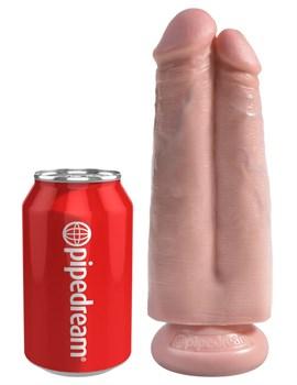 Сдвоенный телесный фаллоимитатор на присоске 7  Two Cocks One Hole - 20,3 см.