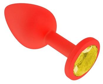 Красная анальная втулка с желтым кристаллом - 7,3 см.