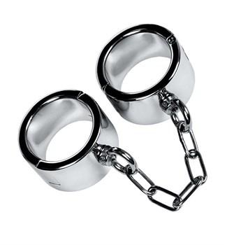 Серебристые широкие наручники Metal