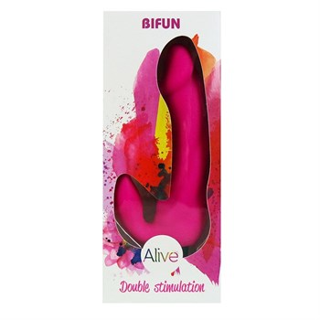 Розовый вибратор с клиторальным отростком Bifun - 16,5 см.