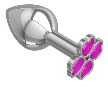 Средняя серебристая анальная втулка с клевером из розовых кристаллов - 8,5 см.
