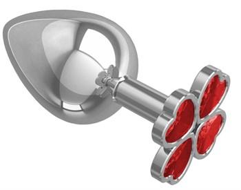 Серебристая анальная пробка-клевер с красным кристаллом - 9,5 см.