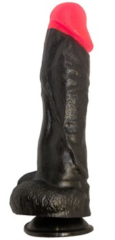 Чёрный фаллоимитатор с красной головкой - 20 см.