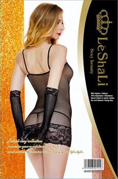 Эротическое платье-сетка с перчатками