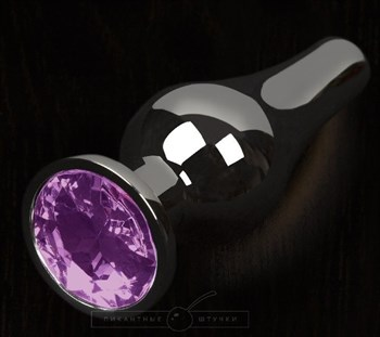 Графитовая удлиненная анальная пробка с фиолетовым кристаллом - 8,5 см.