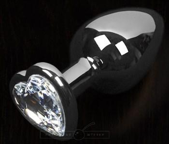 Серая анальная пробка с прозрачным кристаллом в виде сердечка - 8,5 см.