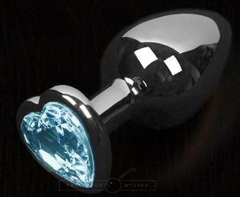 Серая анальная пробка с голубым кристаллом в виде сердечка - 8,5 см.